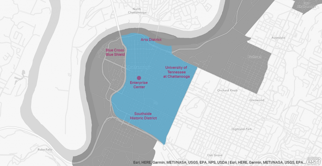 A map of opportunity zones in Chattanooga Tennessee
