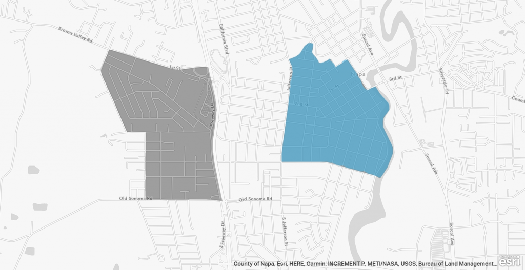 A map of opportunity zones in Napa California