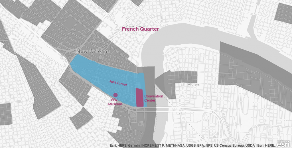 A map of opportunity zones in New Orleans LA Warehouse