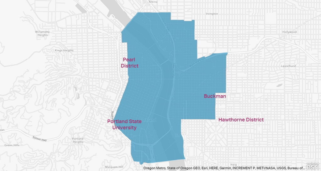 A map of opportunity zones in Portland Oregon