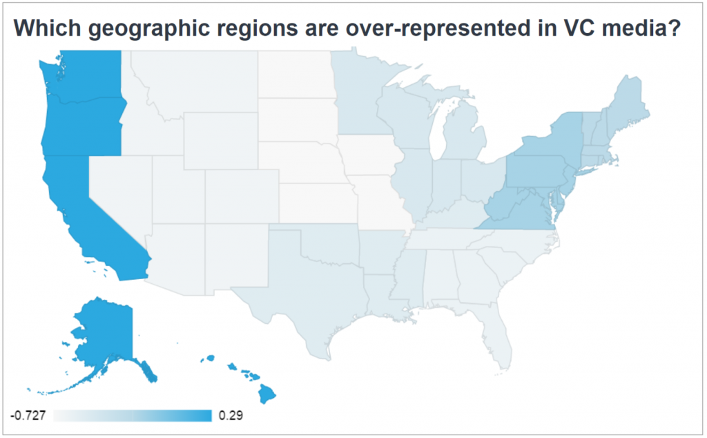 Map of the U.S. showing which regions are over-represented in venture capital media coverage