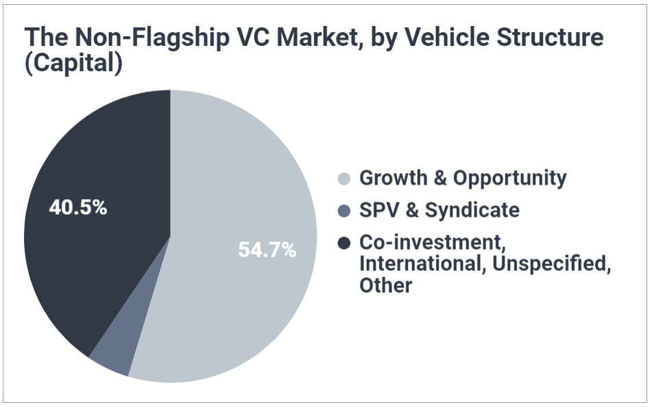Pie chart breaking down capital raised by different non-flagship vehicle; shows growth and opportunity funds account for 55% of venture capital raised in the non-flagship market